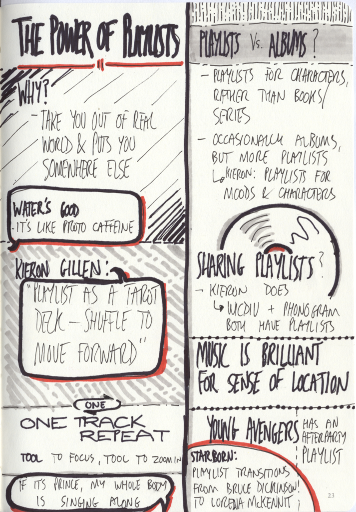 "scanned sketchnotes - ""The Power of Playlists"" panel"