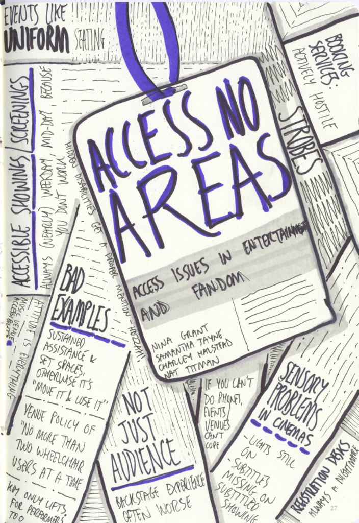 "Scanned sketchnotes from ""Access No Areas"" panel"